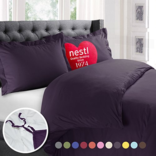 Nestl Bedding Duvet Cover, Protects and Covers your Comforter / Duvet Insert, Luxury 100% Super Soft Microfiber, King Size, Color Purple Eggplant, 3 Piece Duvet Cover Set Includes 2 Pillow Shams
