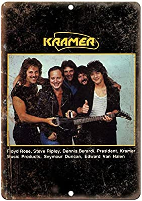 Amazon Com Art Wall Decor Aluminum Sign 12x16in Kramer Electric Guitar Eddie Van Halen Iron Poster Painting Vintage Wall Decor For Cafe Bar Pub Home Beer Decoration Crafts Posters Prints