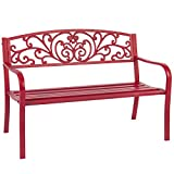 50'' Patio Red Garden Love Bench Park Yard Outdoor Furniture Steel Frame
