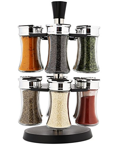 EatNeat Smooth Rotating Spice Rack + 12 Glass Jars + Shaker Lids (Large Image)