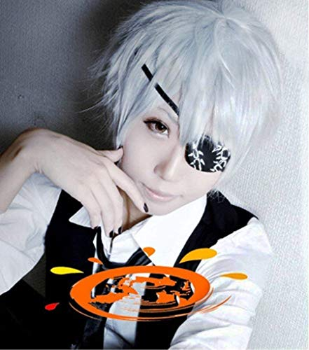 Anogol® Sexy Anime Silver Short Wig Kaneki Ken Cosplay Wig Layered Straight Party Wigs]()