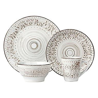 Lorren Home Trends 16 Piece Distressed Romance Stoneware Dinnerware Set, White