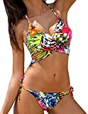 Lady Floral Bikini Padded Stretchable Halter Two Piece Swimsuit Thong Push Up Top Bathing Suit