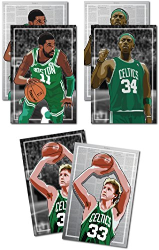 3 Posters of Boston Celtics - Larry Bird, Kyrie Irving, Paul Pierce Art Prints - Buy 1 Get 2 Free, 3 total prints (2-sided) (Large Set - 18