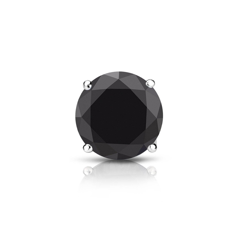 18k White Gold 4-Prong Basket Round Black Diamond SINGLE STUD Earring (0.15 cttw) screw back