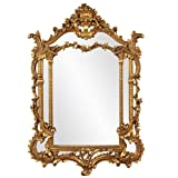 Howard Elliott Arlington Baroque Hanging Wall Mirror, Ornate Arched Rectangle Frame, Gold Leaf Resin, 34 x 49 Inch