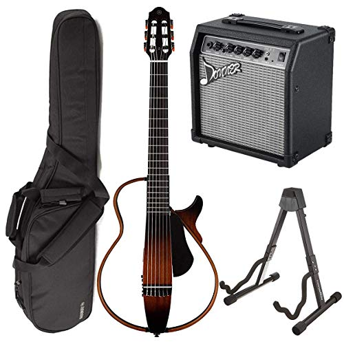 (Yamaha SLG200N TBS Nylon Silent String Acoustic Electric Guitar (Tobacco Sunburst) bundled with the Donner 10 Watt Classical Guitar AMP DEA-1, Gigbag, and Guitar Stand)