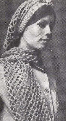 Crocheted Mesh Snood Hair Net Hairnet Hat Scarf Crochet Pattern
