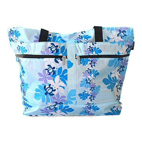 (Hawaiian Print Double Zipper Tote Bag in Turtle and Line Floral in)