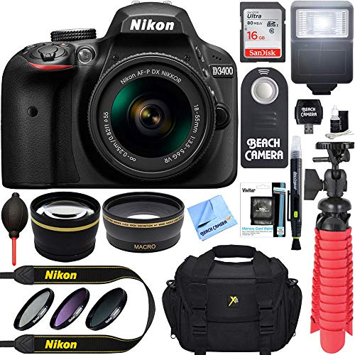 Nikon D3400 24.2 MP DSLR Camera + AF-P DX 18-55mm VR NIKKOR Lens Kit (Black) 32GB SDXC Memory + SLR Photo Bag + Wide Angle Lens + 2X Telephoto Lens + Flash Accessory Bundle (Renewed)