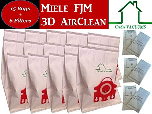 Miele FJM Bags 15 3D Bags + 3 AirClean Filters + 3 Motor Protection Filters FITS ALL Complete C1 Compact C1 C2 S4 S4000 S6 S6000 S200 S300 S500 S700 By Casa Vacuums