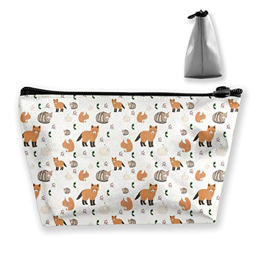 Makeup Bag Cosmetic Squirrel Animal Leaves Portable Cosmetic Bag Mobile Trapezoidal Storage Bag Travel Bags with Zipper ()