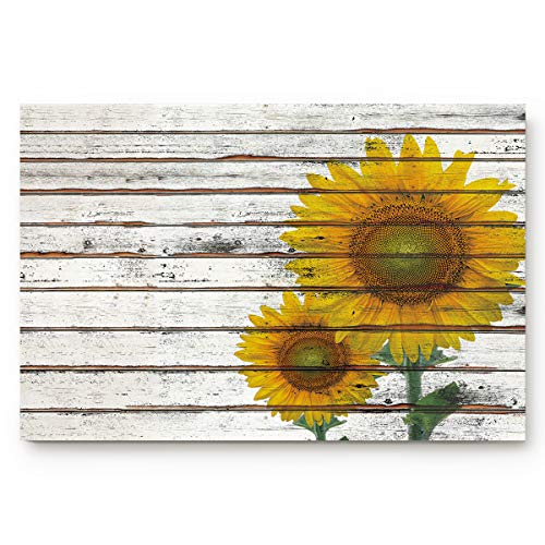 Anmevor Door Mat Inside Non Slip Entrance Floor Mat for Front Door Bathroom Entry Doormat Indoor Washable,Sunflower on a Wooden Board (30