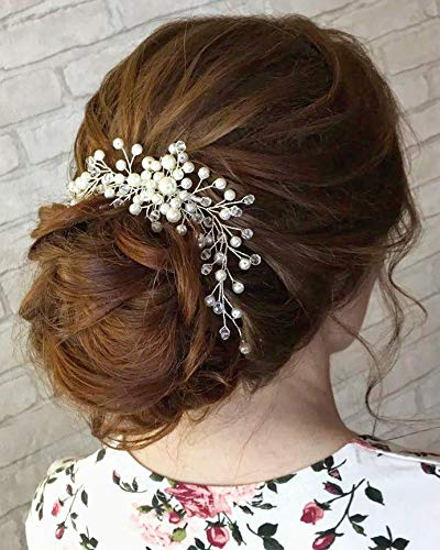 Kercisbeauty Wedding Simple Pearl Hair Comb for Brides Bridal Headpiece Long Curly Updo Hair Accessories Prom Hair Dress for Women(Silver)