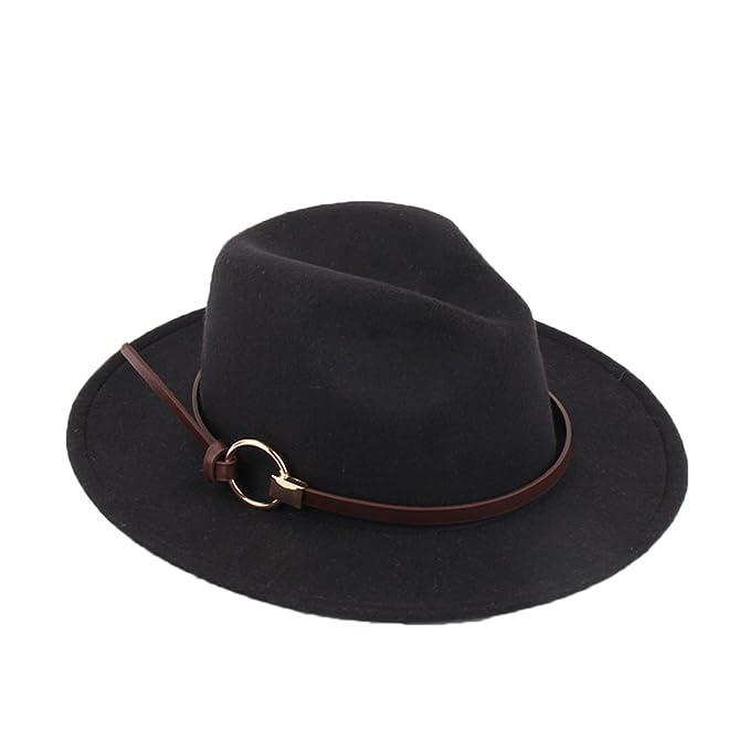 Ealafee Lady Fedora Hat Round Top Black Wool Floppy Hat Vintage Bowknot  Felt Hat e1a8afab22ad