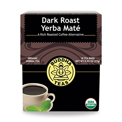 Organic Dark Roast Yerba Maté - 18 Bleach-Free Tea Bags - Stimulating Tea with Medium Levels of Caffeine, Natural Source of Vitamins, Antioxidants, and Flavonoids, Kosher, GMO-Free