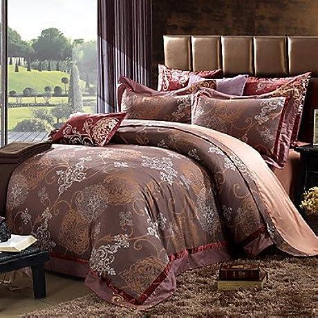 Naluo Home Textiles High Grade Bedding Set Six Piece 100 Cotton Satin Reactive Printing Process Queen Size King Size