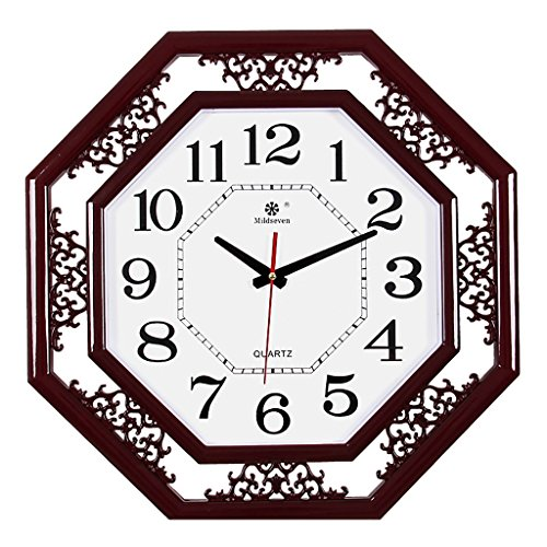 Wall Clock Square And Octagon Clock Living Room Bedroom Family 18 Inch Silenced Vintage Wall Clock (Color : ()