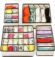 Underwear Organizer Drawer RabbitStorm Organizadores Cajón Divisores, Set de 4 Plegable Debajo de La Cama Dresser...