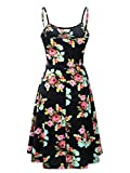 Luckco Womens Sleeveless Adjustable Strappy Summer Floral Flared Swing Dress