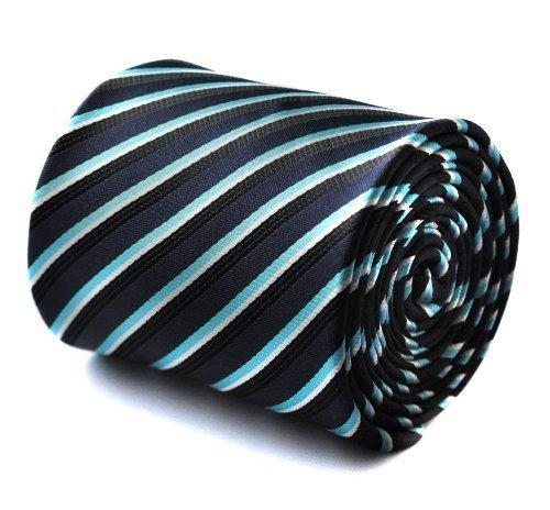 Frederick Thomas corbata de rayas de color turquesa, azul marino y ...