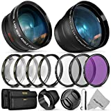 55MM Essential Lens & Filter Accessory Kit for Nikon AF-P DX 18-55mm and Select Sony Lenses - Bundle with Wide Angle & Telephoto Lenses, Filters Kit (UV, CPL, FLD & Macro Set) Lens Hood, Cap & Keeper