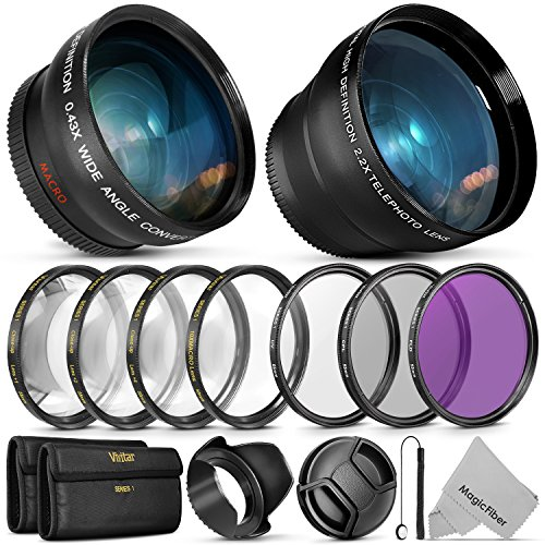 55MM Essential Lens & Filter Accessory Kit for Nikon AF-P DX 18-55mm and Select Sony Lenses - Bundle with Wide Angle & Telephoto Lenses, Filters Kit (UV, CPL, FLD & (Camcorder 52 Mm Lens)