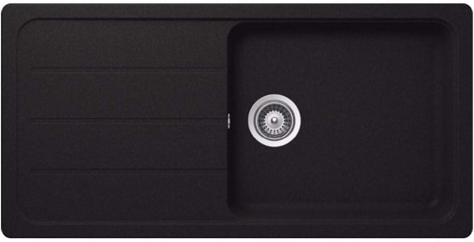 Astini Elmo 100L 1.0 Bowl Granite Nero Black Reversible Kitchen Sink /& Waste