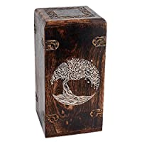 """Fine Craft India Decorative Cremation Urn for Human Ashes - Adult Funeral Urn Handcrafted - Affordable Urn for Ashes - Large Urn Deal Height: 12"""" Length: 6"""" Width: 6"""""""