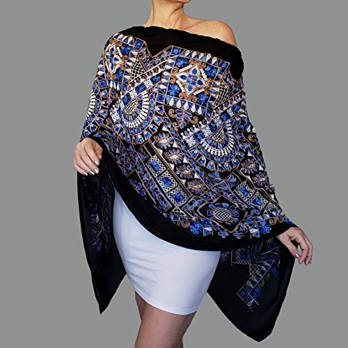 Embroidered Black Shawl White Blue Evening Wrap Scarf By ZiiCi