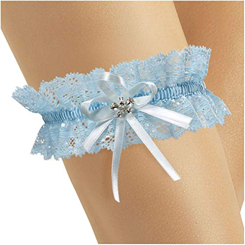 Elastic Bridal Wedding Lace Garter- With Sparkling Crystals in BUTTERFLY Shape - Something Blue Under Wedding Dress - BLUE
