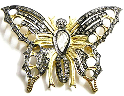 Vintage Style Butterfly - Rose Cut Round Natural Diamond & Polky Brooch Oxidized & Gold Finish Sterling Silver Handmade Wedding Party Pin