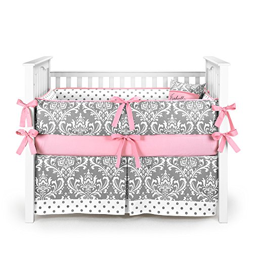 Damask Polkadot Gray & Bubblegum Baby Bedding - 5pc Crib Set by Sofia Bedding