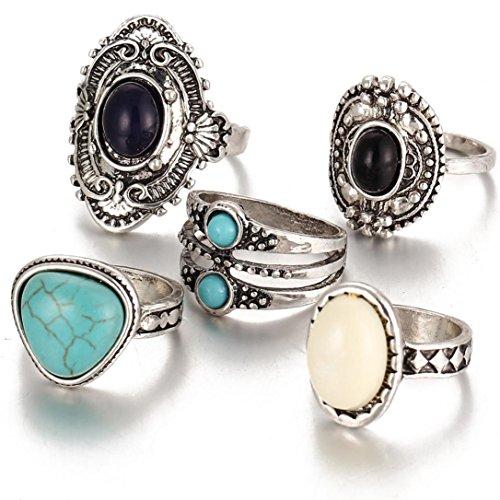 Quartz Stack (Susenstone 5pcs/Set Women Bohemian Vintage Silver Stack Rings, Above Knuckle Blue Rings Set)