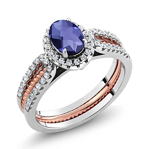 1.27 Ct Blue Iolite 925 Two-Tone Sterling Silver Wedding Band Insert Ring (Gemstone Iolite Ring)
