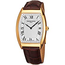 Frederique Constant Slim Line Mens Yellow Gold Dress Watch - Tonneau Analog Silver Face with Date and Sapphire Crystal - Brown Leather Band Swiss Made Quartz Luxury Watch for Men FC-220MC4T25