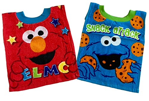 Price comparison product image Sesame Street Elmo Baby Bibs- 2 Piece Pack (blue_cookie monster)