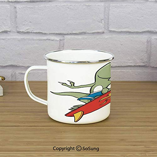 (Reptile Enamel Coffee Mug,Funny Surfing Trex in Water on Plain Background Safari Flame Cool Fictional Artsy,11 oz Practical Cup for Kitchen, Campfire, Home, TravelGreen Red Yellow)