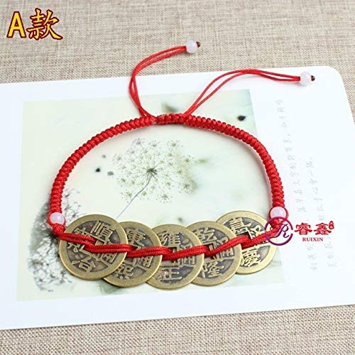 Natal Ward Off Evil red String Bracelet Foot Chain Anklet Ankle Jewelry Five Emperors Coins Mascot Men Women Opening Anti Villain a Bracelet