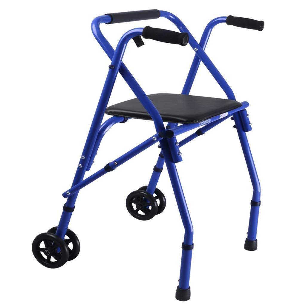 Folding Roller Walker with Seat Transport Lightweight Walking Frame for The Elderly Disabled Lower Limb Training Standard Walker Auxiliary Walking Safety Walker