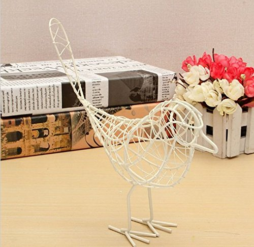 URTop 1Pcs Vintage Metal Craft Wire Iron Bird Model Decorative Ornament Home Living Room Office Desktop Decoration Craft Gift Black/White/Blue Color For Option