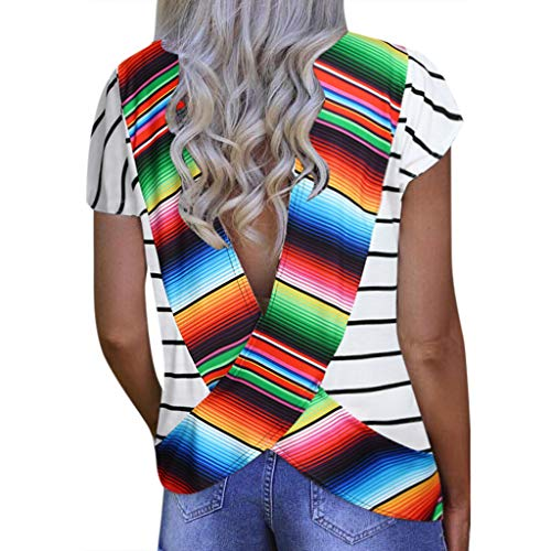 Amlaiworld Fashion Women Plus Size Tee Tops Halter Shirt Sexy Loose Short Sleeve V-Neck Printed Open Back T-Shirt - Apparel Halter Multi