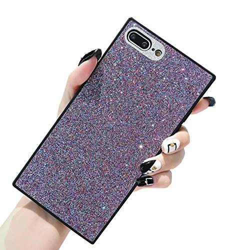 YonMeet Luxury Bling Square Phone Case for iPhone 7 8 Sparkle Glitter Trunk Air Corner Shockproof Back Cover Casing (iPhone 7/8 4.7'', Purple)