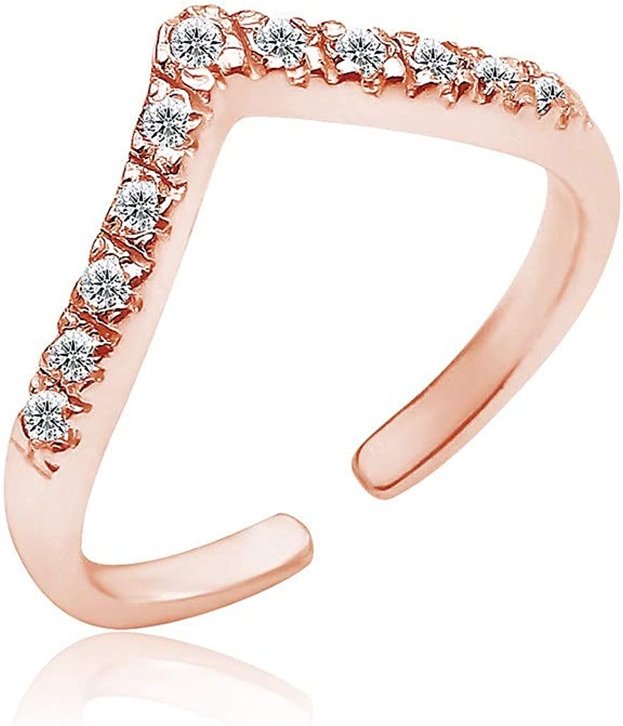 Big Apple Hoops - Adjustable Little Cute Toe Ring with CZ Cubic Zirconia Made from Real Solid 925 Sterling Silver in 3 Color Rose, Silver, Gold with Protective Electrocoated Finish for Anti-Tarnish