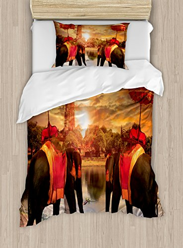 Asian Themed Costume Ideas (Asian Twin Size Duvet Cover Set by Ambesonne, Animals Dressing Traditional Costumes Standing in front of Pagoda Patience Symbol Print, Decorative 2 Piece Bedding Set with 1 Pillow Sham, Multi)