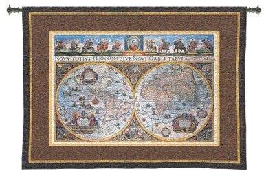 Nova Terrarum Orbis - Woven Tapestry Wall Art Hanging for Home Living Room & Office Decor - Historic European Vintage Map of 17Th Century World - 100% Cotton - USA 53x73