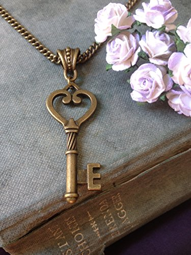 8th Wedding Anniversary Gift For Her Bronze Vintage Key Necklace