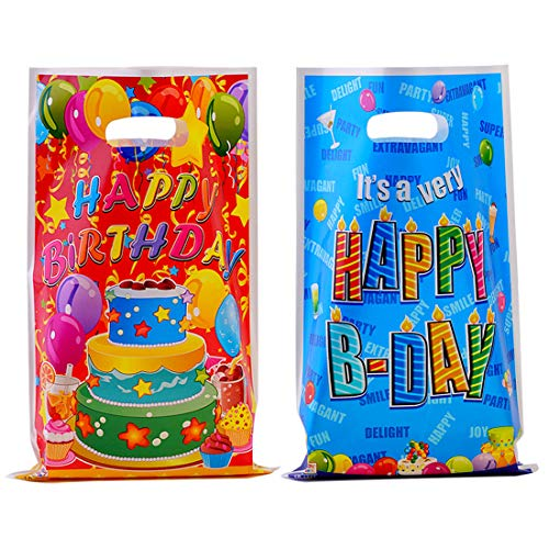 40 Pack Party Favor Bags Assorted Colors Plastic Goodie Bags for Kids Birthday (Cakes)]()
