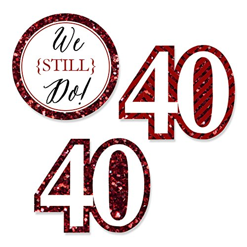 Big Dot of Happiness We Still Do - 40th Wedding Anniversary - DIY Shaped Party Cut-Outs - 24 Count ()