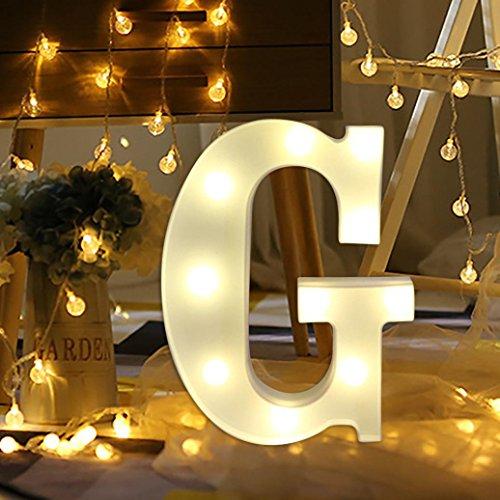 LtrottedJ Alphabet LED Letter Lights Light Up White Plastic Letters Standing Hanging (G)
